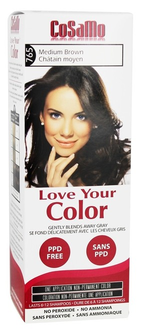 Cosamo Love Your Color Hair Color, #765 Medium Brown (Comparable To Loving Care)