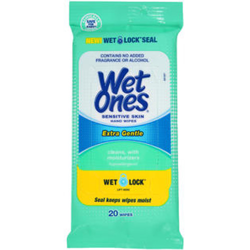 Wet Ones Hand Wipes Travel Pack with Wet Lock, Sensitive, 20 Ct