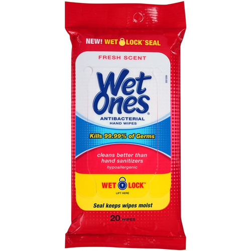 Wet Ones Antibacterial Hand Wipes Travel Pack with Wet Lock, Fresh Scent, 20 Ct