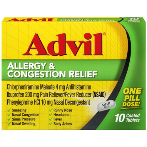 Advil Allergy & Congestion Relief Tablets, 10 ct