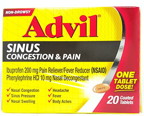 Advil Sinus, Congestion & Pain, Pain Reliever + Fever Reducer Tablets, 20 ct