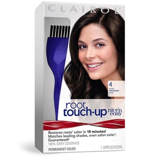 Clairol Nice 'N Easy Root Touch Up Hair Color Kit, #4 Dark Brown, 1 Ea