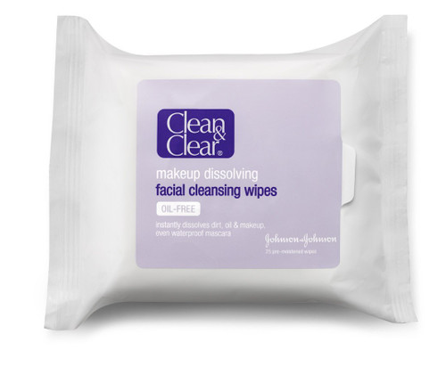 Clean & Clear Makeup Dissolving Facial Cleansing Wipes, 25 ct