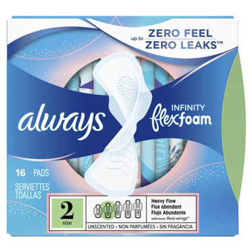 Always  Infinity Flexfoam Heavy Flow Pads with Wings, Unscented, 16 ct, 12 PACKS, 1 CASE