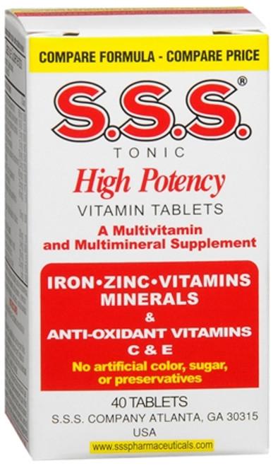 SSS Tonic High Potency Multivitamin &  Mineral + Iron / B-Vitamin Tablets, 40 ct, 1 Ea