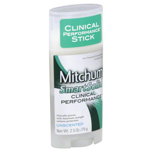 Mitchum Smart Solid Clinical Performance Anti-Perspirant & Deodorant Stick, Unscented, 2.5 oz
