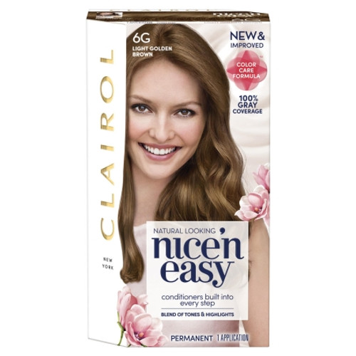Clairol Nice 'N Easy Permanent Hair Color Kit, #6G Light Golden Brown, 1 Ea
