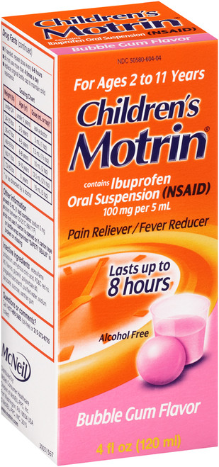 Motrin Children's Pain Reliever + Fever Reducer Liquid, Bubblegum, 4 oz