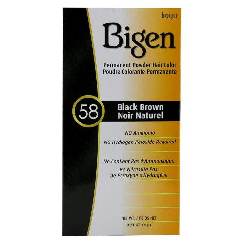 Bigen Permanent Powder Hair Color Kit, #58 Black Brown, 0.21 oz