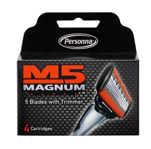 Personna M5 Magnum 5-blade Razor Cartridges with Trimmer, 4 ct