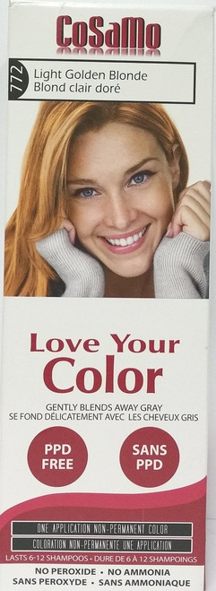 Cosamo Love Your Color Hair Color,  #772 Light Golden Blonde (Comparable To Loving Care)