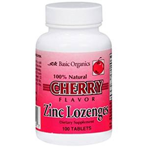 Basic Organics Zinc Lozengers, Cherry, 100 ct