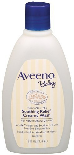 Aveeno Baby Soothing Relief Creamy Wash, Fragrance Free, 12 oz