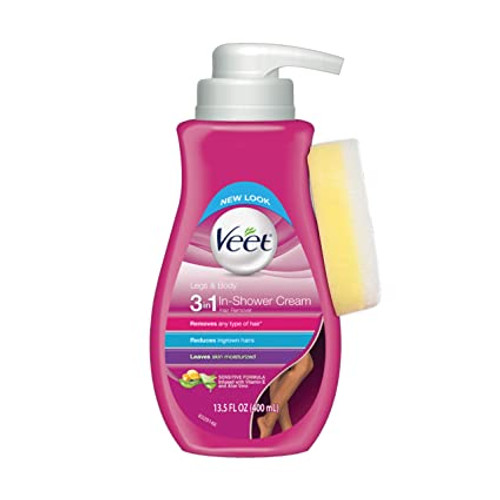 Veet In-Shower Hair Removal Cream, Sensitive Formula, 13.5 oz