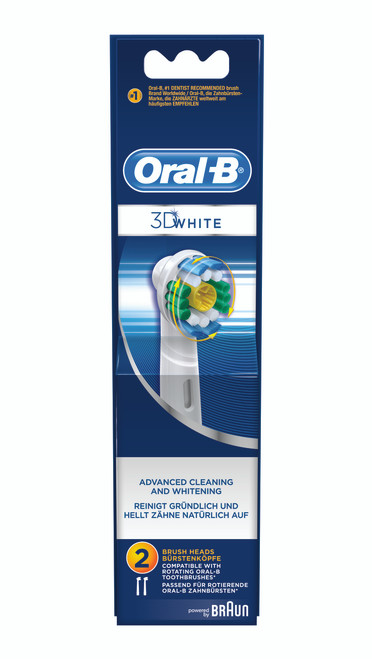 OralB 3D White, Advanced Cleaning & Whitening, Replacement Brush Heads, 2 Ct, 1 Ea