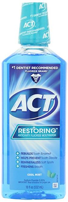 ACT Restoring Anticavity Fluoride Mouthwash, Cool Mint, 18 oz, 1 Ea