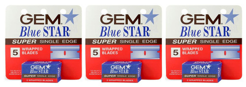 Gem Blue Star Super Single Edge Wrapped Blades, 5 ct, 3 PACKS