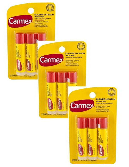 Carmex Protecting Lip Balm Stick SPF 15, Original, 0.15 oz, 3 ct, 3 PACKS