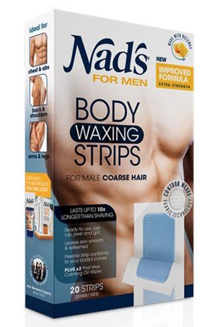 Nads For Men Body Waxing Strips, 20 ct