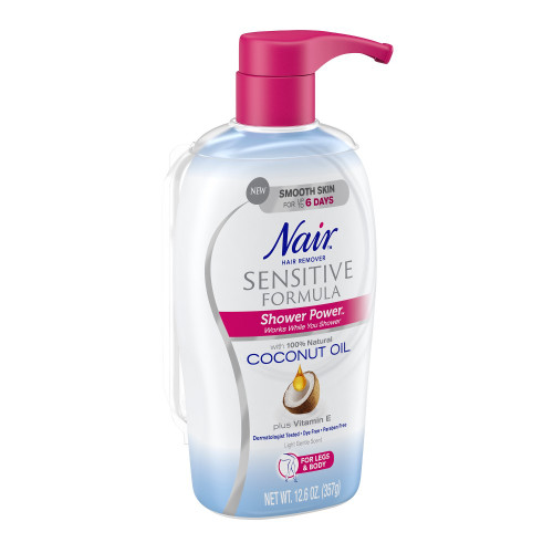 Nair Hair Remover with Coconut Oil, Sensitive Formula Shower Power for Legs & Body, 12.6 oz