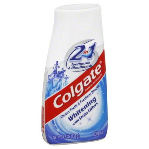 Colgate 2-In-1 Whitening Toothpaste & Mouthwash Fluoride Liquid Gel, 4.6 oz