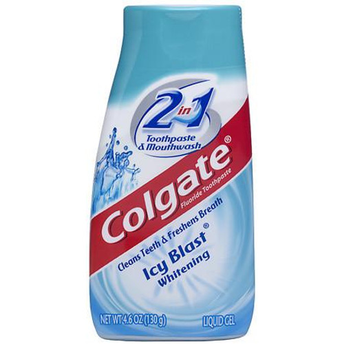 Colgate 2-In-1 Whitening Toothpaste & Mouthwash Fluoride Liquid Gel, Icy Blast, 4.6 oz