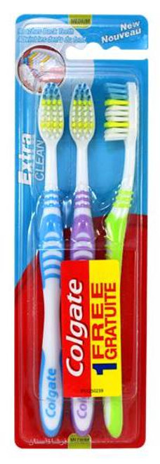 Colgate Extra Clean Full Head Toothbrush, Medium, Colors May Vary, 3 ct