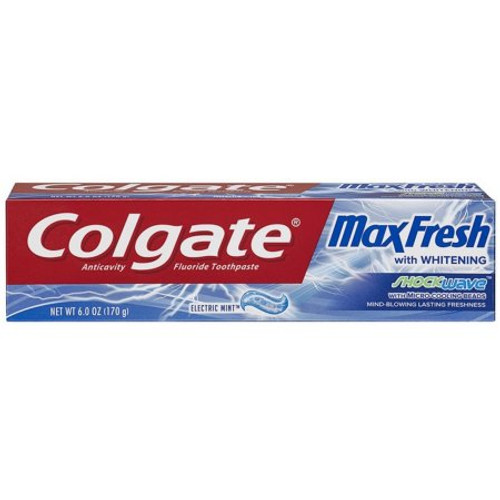 Colgate Max Fresh + Whitening AntiCavity Protection Fluoride Gel, Electric Mint, 6 oz