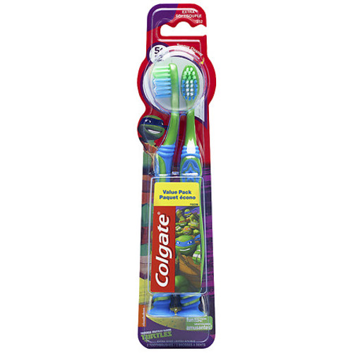Colgate Kids Teenage Mutent Ninja Turtles Toothbrush, Extra Soft, Colors May Vary, 2  ct