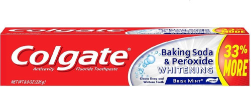 Colgate Baking Soda, Peroxide & Whitening AntiCavity Protection Fluoride Toothpaste, Brisk Mint, 8 oz