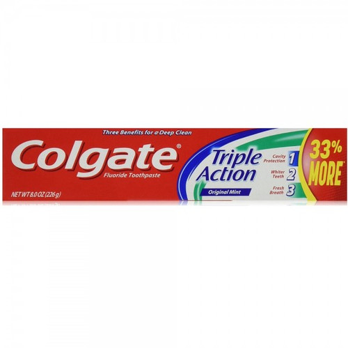 Colgate Triple Action AntiCavity Protection Fluoride Toothpaste, Original Mint, 8 oz