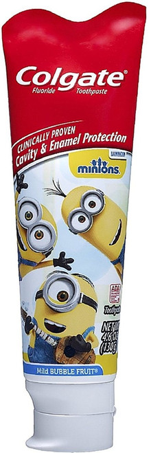 Colgate Kids Minions Cavity Protection Fluoride Toothpaste, Mild Bubble Fruit, 4.6 oz