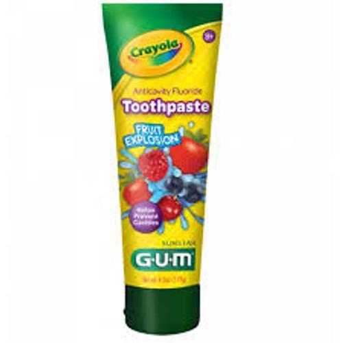 Butler GUM Crayola Kids Anticavity Fluoride Toothpaste, Fruit Explosion, 4.2 oz