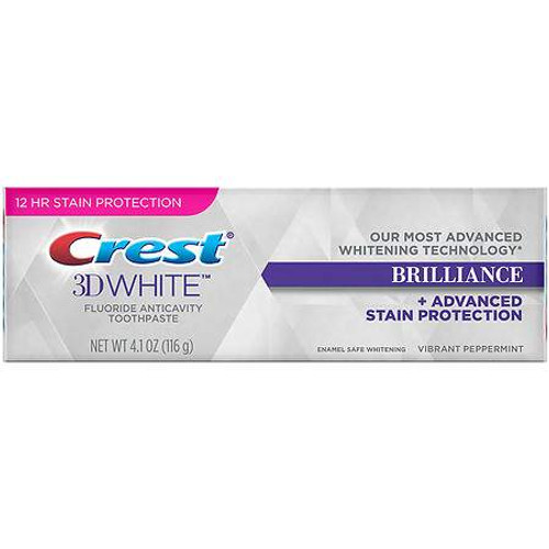 Crest 3D White Brilliance + Advanced Stain Protection Anticavity Fluoride Toothpaste, Vibrant Peppermint, 4.1 oz