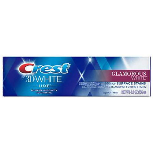 Crest 3D White Luxe Glamorous White Anticavity Fluoride Toothpaste, Vibrant Mint, 4.8 oz