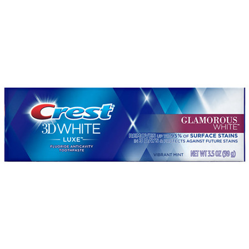 Crest 3D White Luxe Glamorous White Anticavity Fluoride Toothpaste, Vibrant Mint, 3.5 oz
