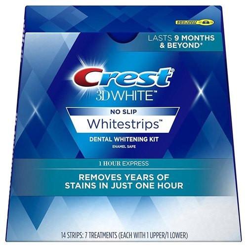 Crest 3D White, 1HR Express White Strips, Dental Whitening Kit, 14 ct