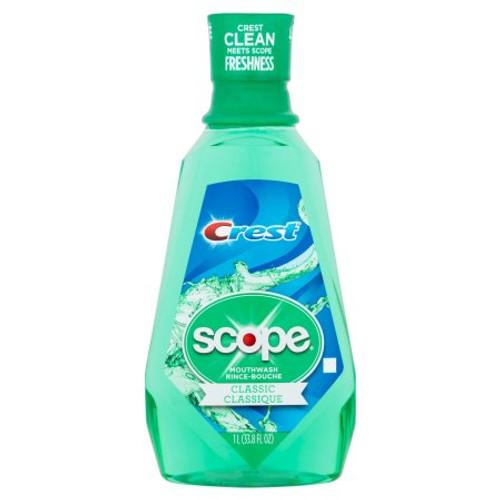 Crest + Scope Outlast Mouthwash, Classic Mint, 33.8 oz