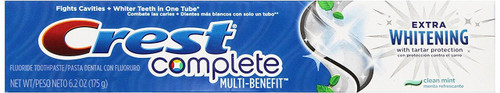 Crest Complete Multi-Benefit Extra Whitening Anticavity Fluoride Toothpaste, Clean Mint, 6.2 oz