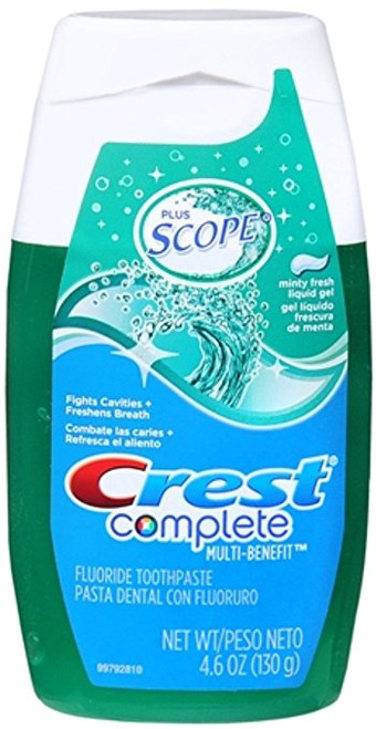 Crest Complete Multi-Benefit + Scope Anticavity Fluoride Liquid Toothpaste, Minty Fresh, 4.6 oz