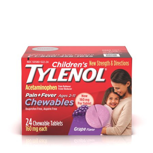 Children's Tylenol Chewable Pain Reliever + Fever Reducer, Grape, 24 ct
