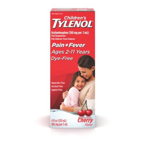 Children's Tylenol Oral Suspension Pain Reliever + Fever Reducer Liquid, Dye Free Cherry, 4 oz