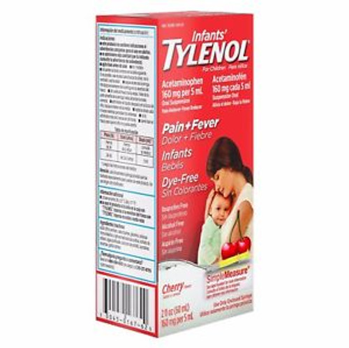 Tylenol Infants Oral Suspension Pain Reliever + Fever Reducer Liquid, Dye Free Cherry, 2 oz