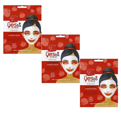 Yes to Tomatoes Clear Skin Acne Fighting Paper Mask, Single Use, 3 PACKS