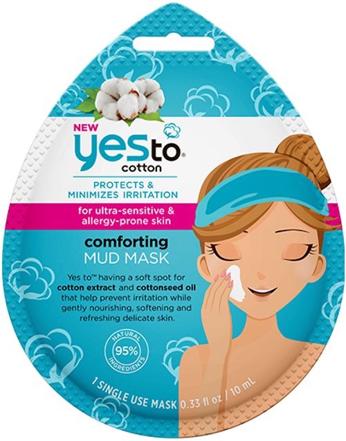 Yes to Cotton Ultra Sensitive & Allergy Prone Skin Comforting Mud Mask, Single Use
