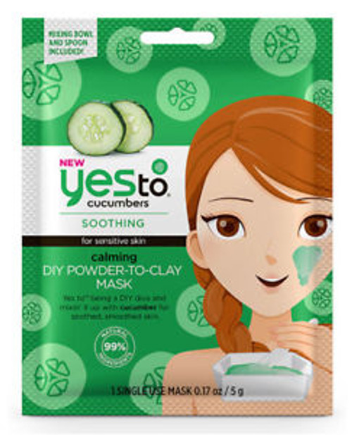 Yes To Cucumbers Soothing Calming DIY Powder to Clay Mask, Single Use
