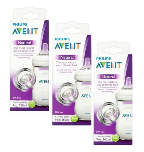 Philips Avent Natural BPA Free Anti Colic Bottle SCF693/17, 1M+, 9 oz, 3 PACKS