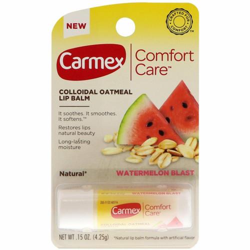 Carmex Comfort Care Colloidal Oatmeal Lip Balm, Watermelon Blast, 0.15 oz