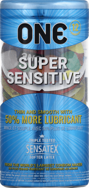 ONE Super Sensitive Extra Thin Latex Condoms, 12 ct