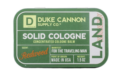 Duke Cannon Men's Solid Cologne Concentrated Cologne Balm, Redwood, 1.5 oz